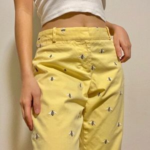 yellow embroidered bee pants